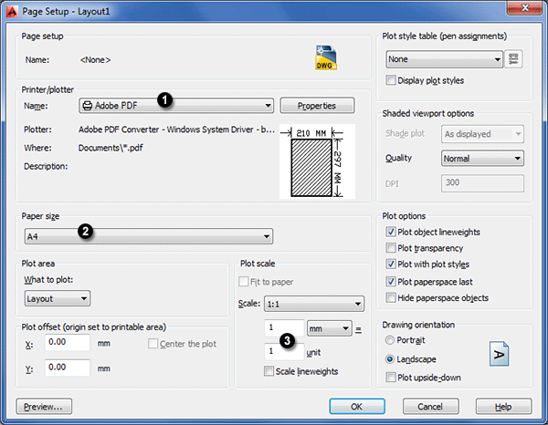 print custom paper size autocad download